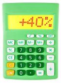 Calculator with 40 on display on white — Foto Stock