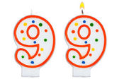 Birthday candles number nine isolated on white — Stock Photo