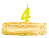 Birthday cake with candles number four isolated — Foto Stock