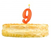 Birthday cake with candles number nine isolated — Foto Stock