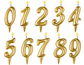 Birthday candles number set isolated on white — Stock Photo