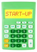 Calculator with START-UP on display isolated — Foto Stock