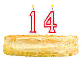 Birthday cake candles number fourteen isolated — Photo