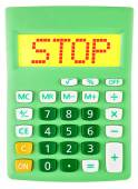 Calculator with STOP on display isolated — Foto Stock
