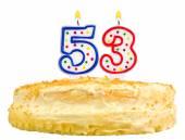 Geburtstagstorte Kerzen drittgrösste fünfzig isoliert — Stockfoto