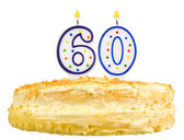 Birthday cake candles number sixty isolated — Stock Photo