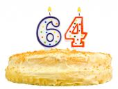 Birthday cake candles number sixty four isolated — Stock Photo