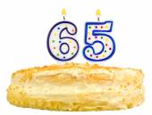 Birthday cake candles number sixty five isolated — Stock Photo