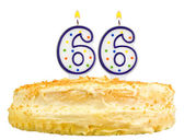 Birthday cake candles number sixty six isolated — Stock Photo