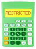 Calculator with RESTRICTED on display isolated — Stock Photo