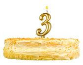 Birthday cake with candles number three isolated — Stock Photo