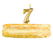 Birthday cake with candles number seven isolated — Stock Photo