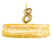 Birthday cake with candles number eight isolated — Stock Photo