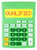 Calculator with QUALIFIED isolated — Stockfoto
