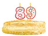 Geburtstagstorte Kerzen Zahl achtzig neun isoliert — Stockfoto