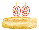 Birthday cake candles number ninety nine isolated — Stock Photo