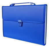 Blue briefcase isolated on white — Stock Photo
