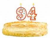 Birthday cake candles number ninety four isolated — Stock Photo