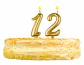 Birthday cake with candles number twelve isolated — Stock Photo