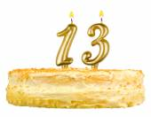 Birthday cake candles number thirteen isolated — Stock Photo