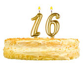 Birthday cake candles number sixteen isolated — Stock Photo
