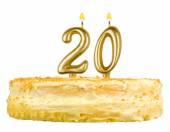 Birthday cake candles number twenty isolated — Stock Photo