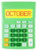 Calculator with OCTOBER on display isolated — Stock Photo