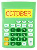 Hesap makinesi ile Ekim izole ekranda — Stok fotoğraf