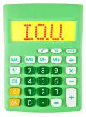 Calculator with I.O.U. on display isolated — Stock Photo