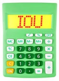 Calculator with IOU on display isolated — Stock Photo
