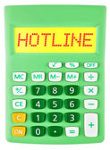 Calculator with HOTLINE on display isolated — Stock Photo