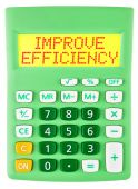 Calculator with IMPROVE EFFICIENCY isolated — Stock Photo