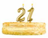 Birthday cake with candles number twenty one — Stock Photo