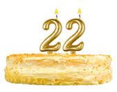 Birthday cake with candles number twenty two — Stock Photo