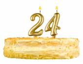 Birthday cake with candles number twenty four — Stock Photo