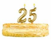 Birthday cake with candles number twenty five — Stock Photo