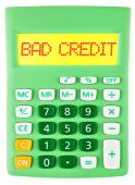 Calculator with BAD CREDIT on display — Stock Photo