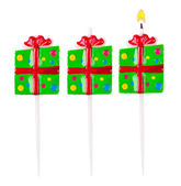 Candle in the form of gift set isolated — Stock Photo