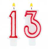 Birthday candles number thirteen isolated — Stock Photo