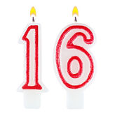 Birthday candles number sixteen isolated — Stock Photo