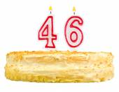 Birthday cake with candles number forty six — Stock Photo