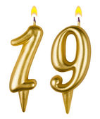 Birthday candles number nineteen isolated — Stock Photo