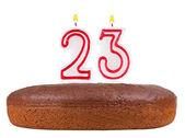 Bolo de aniversário com velas n º 23 isolado — Fotografia Stock