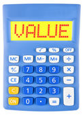 Calculator with VALUE on display isolated — Stock Photo
