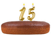 Birthday cake with candles number 15 isolated — Stock Photo