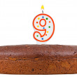 Birthday cake with candles number nine — Stock Photo #60809869
