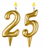 Birthday candles number twenty five isolated — Stock Photo