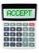Calculator with ACCEPT on display isolated — Stock Photo
