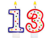 Birthday candles number thirteen — Stock Photo