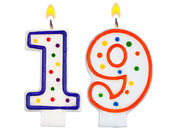 Birthday candles number nineteen — Stock Photo